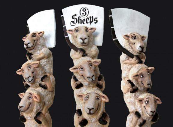 3 Sheeps Brewing Co. tap handles